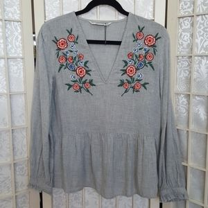 NEW Zara Embroidered Blouse M